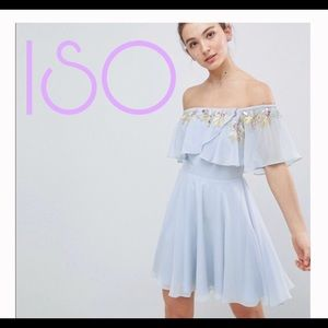 ASOS beaded pastel blue off the shoulder skater